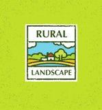 Agricultura e cultivo agribusiness Paisagem rural Elemento do projeto Ilustração áspera do vetor Imagens de Stock