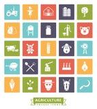 Agricultura e cultivo do grupo quadrado do ícone da cor Fotografia de Stock Royalty Free