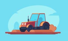 Agricultura El tractor de granja rojo procesa cosechas agrícolas y campo del arado Maquinaria pesada para el campo y los terraplé ilustración del vector