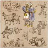 Agricultura, fabricación del queso - sistema dibujado mano del vector Fotografía de archivo