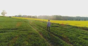 Agricultura, fazendeiro masculino que anda na trilha sobre o campo agrícola ao usar a tabuleta digital filme