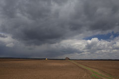 agricultura O trator prepara o campo semeando o trigo dentro imagens de stock