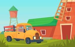 Agricultura Paisaje rural de la granja con el cami?n anaranjado, granero rojo, casa y rancho, torre de agua y pajar stock de ilustración