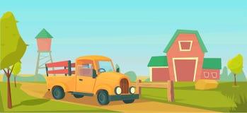 Agricultura Paisaje rural de la granja con el cami?n anaranjado, granero rojo, casa y rancho, torre de agua y pajar ilustración del vector