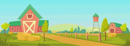 Agricultura Paisaje rural de la granja con el granero, casa y rancho, torre de agua y pajar rojos ilustración del vector