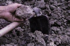 Agricultura: Suelo en manos del hombre del granjero con la azada de los vagos negros del suelo foto de archivo libre de regalías