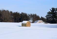Agricultura y vida rural en el fondo del invierno imagen de archivo