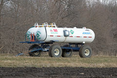 An Agricultural Anhydrous Ammonia Tank. Ammonia, or azane, is a compound of nitrogen and hydrogen with the formula NH3. It is a colourless gas with a royalty free stock photography