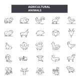 Agricultural animals line icons. Editable stroke signs. Concept icons: agriculture, fram, livestock, domestic animals royalty free illustration