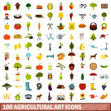 100 agricultural art icons set, flat style Royalty Free Stock Photography