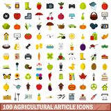 100 agricultural article icons set, flat style. 100 agricultural article icons set in flat style for any design vector illustration stock illustration