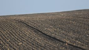 Agricultural background of newly plowed field Stock Photo