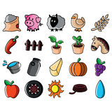 Agricultural Colored Icons Set Royalty Free Stock Photo