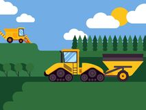 Agricultural combine harvester seasonal farming landscape scene illustration background vector. Fields and forests. Equipment for harvesting. Industrial farm royalty free illustration
