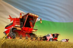 Agricultural combine harvester working on wheat field with Djibouti flag background, food production concept - industrial 3D