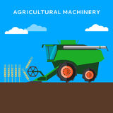 Agricultural combine machine is harvesting on the wheat field. Colorful vector flat illustration Royalty Free Stock Images