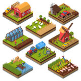 Agricultural Compositions Isometric Set. With farm buildings and vehicles livestock and fishing cultivated lands isolated vector illustration Royalty Free Stock Image
