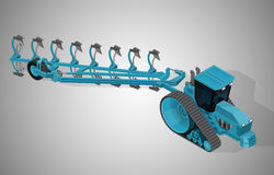 Agricultural crawler tractor with a plow. Royalty Free Stock Image