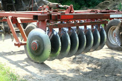 Agricultural disc machine. Agricultural machine with blades for turning the soil Stock Images