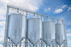 Agricultural elevator building for corn storage Stock Photos
