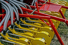 Agricultural equipment. Details 62. Equipment for agriculture, presented to an agricultural exhibition Stock Photos