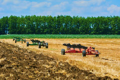Agricultural Equipment on Field Stock Photo