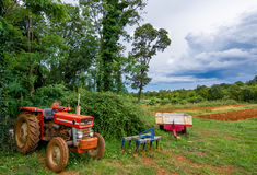Agricultural Equipment and Tractor and Acre Royalty Free Stock Image