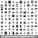 100 agricultural exhibition icons set Stock Photos