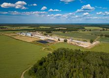 Agricultural , factory aerial view. Green field. Green field. Agricultural , factory aerial view stock photo