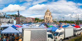 Agricultural fair on the central square of the Far Eastern city of Vladivostok. VLADIVOSTOK, RUSSIA - JUNE 21, 2019: Agricultural fair on the central square of royalty free stock image