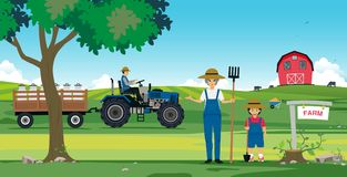 Agricultural farm. Families with barns and tractor Royalty Free Stock Photo