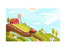 Agricultural farm with fields and livestock. Harvesting and cultivating land. Vector illustration Royalty Free Stock Image