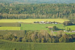 Agricultural Farm Land. Aerial view of lush green agricultural farm land in Western Washington royalty free stock photography