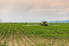 Farming tractor. Agricultural Farming tractor plowing and spraying a field at sunset Stock Photography