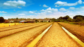 Agricultural fertilizers organic vegetable garden or planting le. Ttuce landscape have a nice sky and cloud with a ditches around and font of hut and village Stock Images