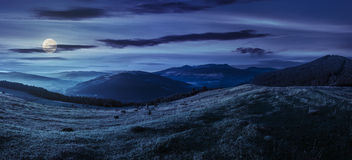 Agricultural field in mountains at night Royalty Free Stock Photos