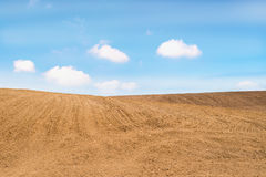 Agricultural field with soil and blue sky. With copy space Stock Images