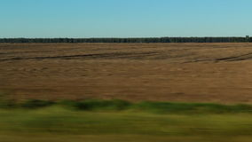 Agricultural field view from a moving vehicle stock footage