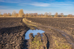 Agricultural fields and dirty road in central Ukraine at late autumnal season Stock Image