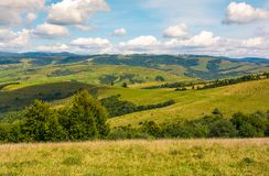 Agricultural fields on grassy hills in mountains. Beautiful rural landscape of Carpathians Stock Photography