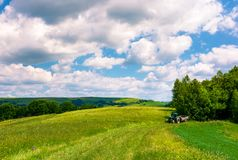 Agricultural fields on hills. Beautiful summer landscape Royalty Free Stock Photos