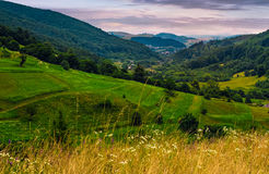 Agricultural fields on hills at sunrise. Agricultural fields on hills in mountainous rural area at sunrise. dramatic countryside landscape Stock Photography
