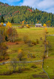 Agricultural fields on hillside near forest. Lovely autumnal scenery in mountains Royalty Free Stock Photos