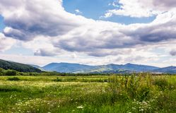 Agricultural fields in mountainous countryside. Lovely landscape with gorgeous cloudy sky Royalty Free Stock Photography