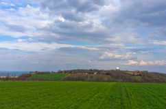 Agricultural fields near Danube river in early spring Royalty Free Stock Photo