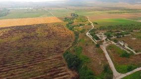 Agricultural Fields And Settlement At Dull Day stock video