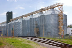 Agricultural grain elevator and railroad. Stock Image