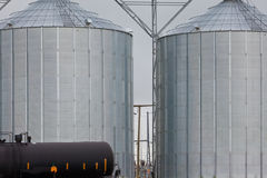 Agricultural grain silos exterior railway wagon Royalty Free Stock Images