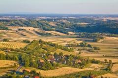 Agricultural green landscape od Prigorje region Royalty Free Stock Image