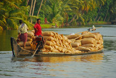 Agricultural Harvest on Wooden Boat Royalty Free Stock Photos